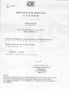 Certificate of company registration